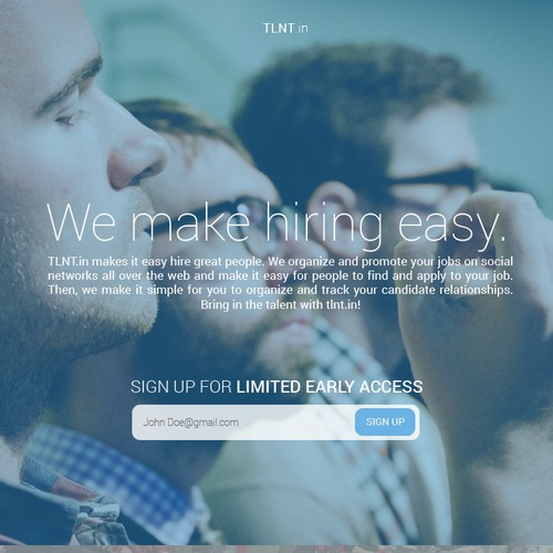 Design the: logo & landing page for new talent / hiring product: tlnt.in