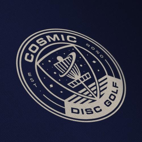 Badge logo concept for cosmic disc golf