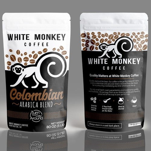 White Monkey coffee packaging