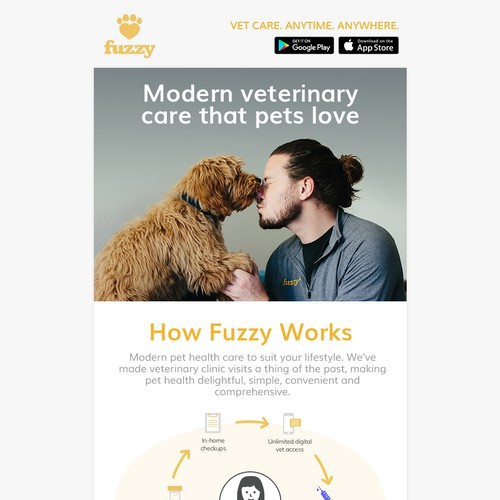Email newsletter design for Fuzzy