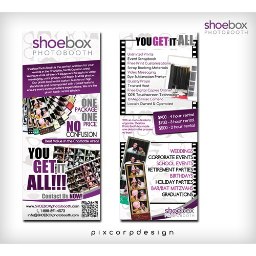 postcard or flyer for Shoebox Photo Booth, Inc