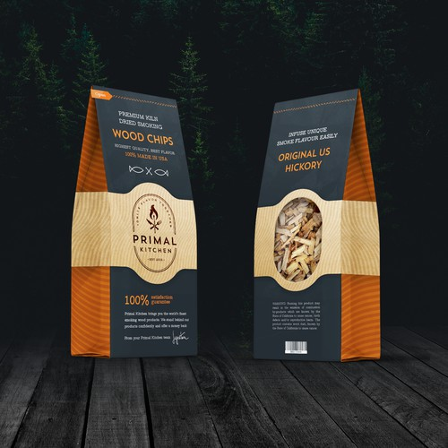 Package design for a flavored BBQ wood chip product