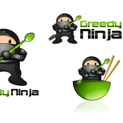 Create the next logo and business card for Greedy Ninja