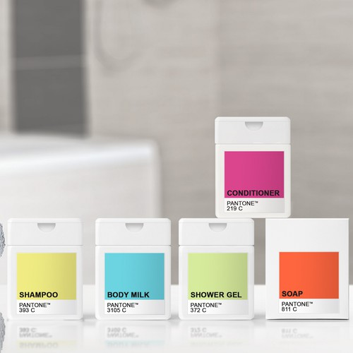Pantone colors inspired design for hotel amenities