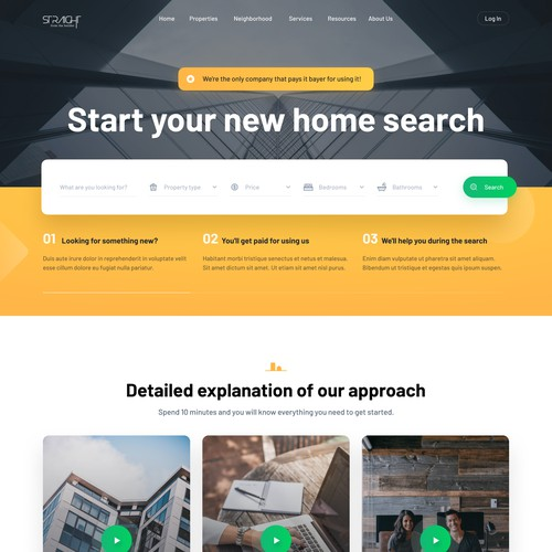 Clean, minimalist desktop landing page for the real estate agency