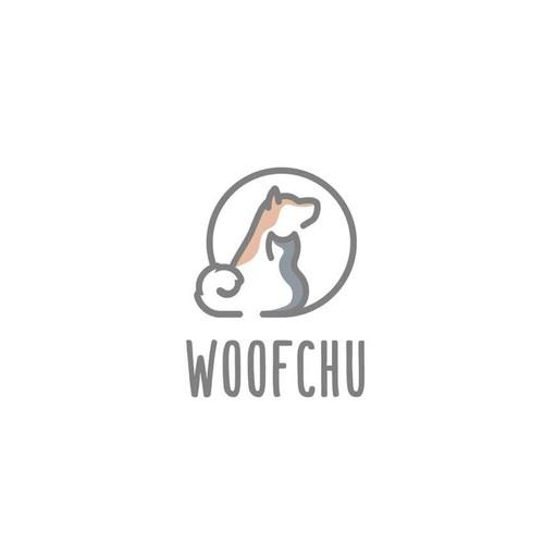 Woofchu - Modern Negative Space Logo Design