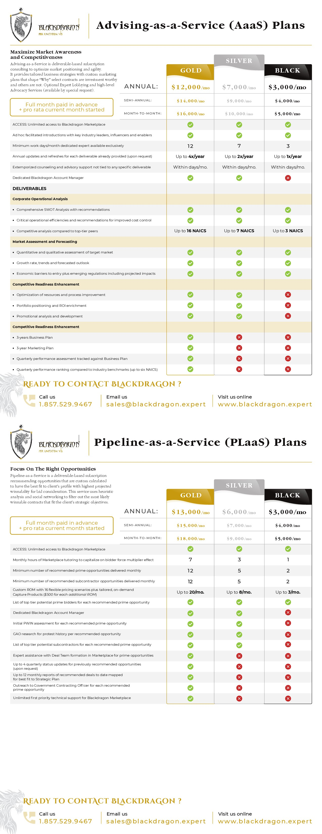 Design Pricing Sheet For Major Disruptor Company Revolutionizing the Federal Contracting Industry