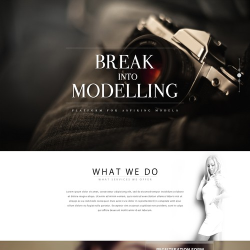 parallax scrolling effect website for Aspiring Models to upload theirpictures