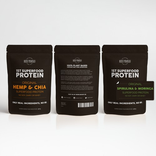 Simple yet fun design for superfood protein