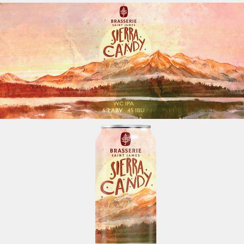 Watercolor/Digital Sierra Candy beer Can design