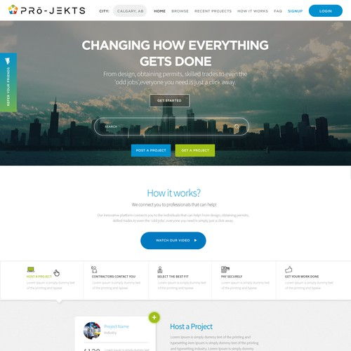 Clean Webpage Design For Construction Platform