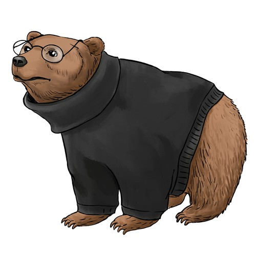 Bear with turtleneck
