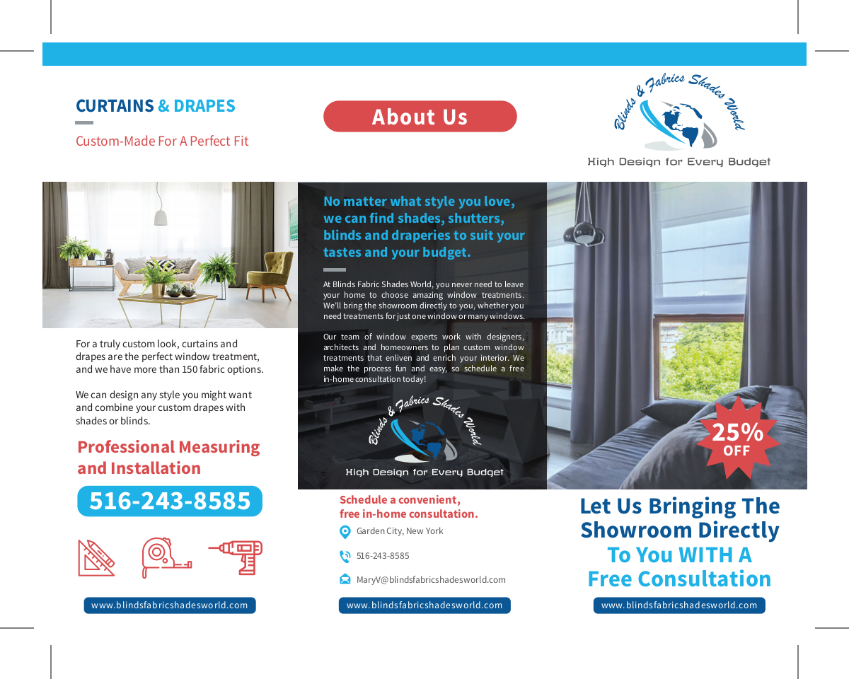 Brochure and business card for window treatment company