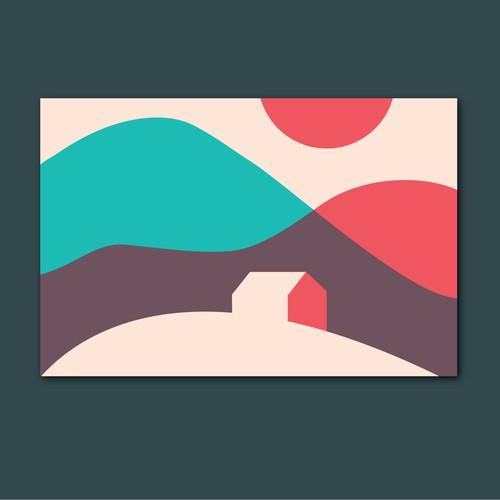 Minimal postcard illustration
