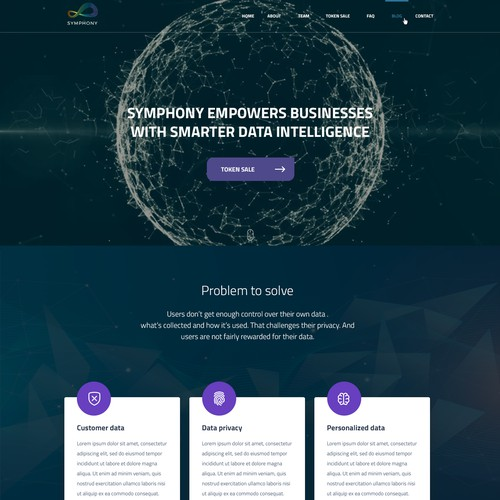 Blockchain home page concept