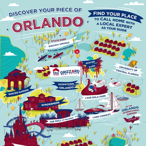 Fun illustrated map of Orlando for a Real Estate Company
