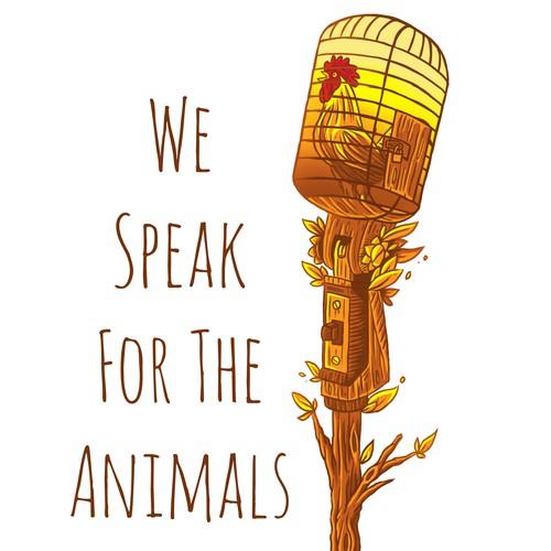 "Vegan themed t-shirts ""WE SPEAK FOR THE ANIMAL"""