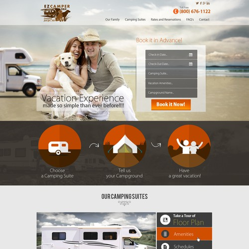 Website design for a fun and EZ type of camping vacation!