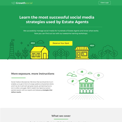 Illustrative and fun landing page design