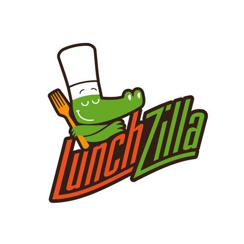 Reptile illustration logo for Lunchzilla