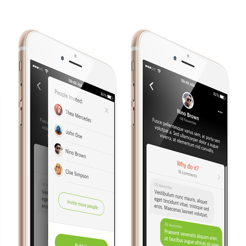 Design a clean and fresh design for an idea collaboration app