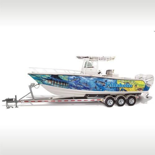 Boat wrap design for Fishaholic