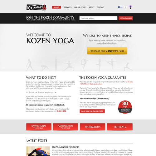 website design for www.kozenyoga.com.au