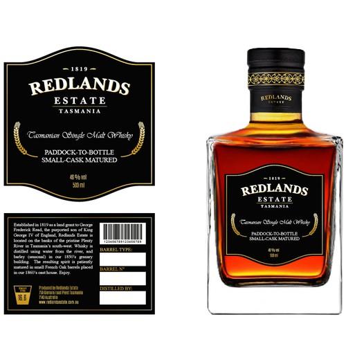 Redlands whisky label
