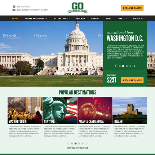 Design a fun, responsive site for an experiential Educational Travel Company