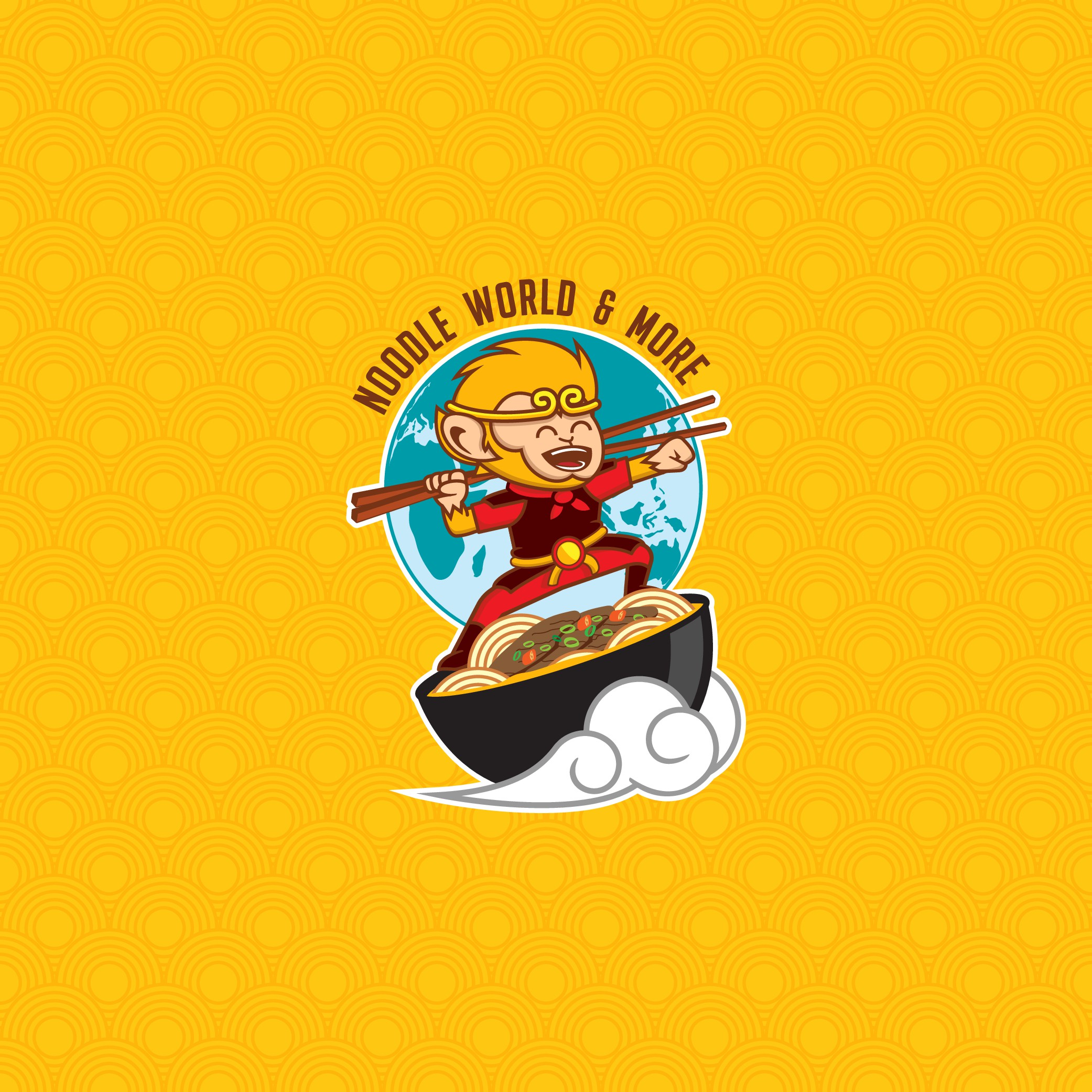 Fun asian restaurant logo for noodle house.