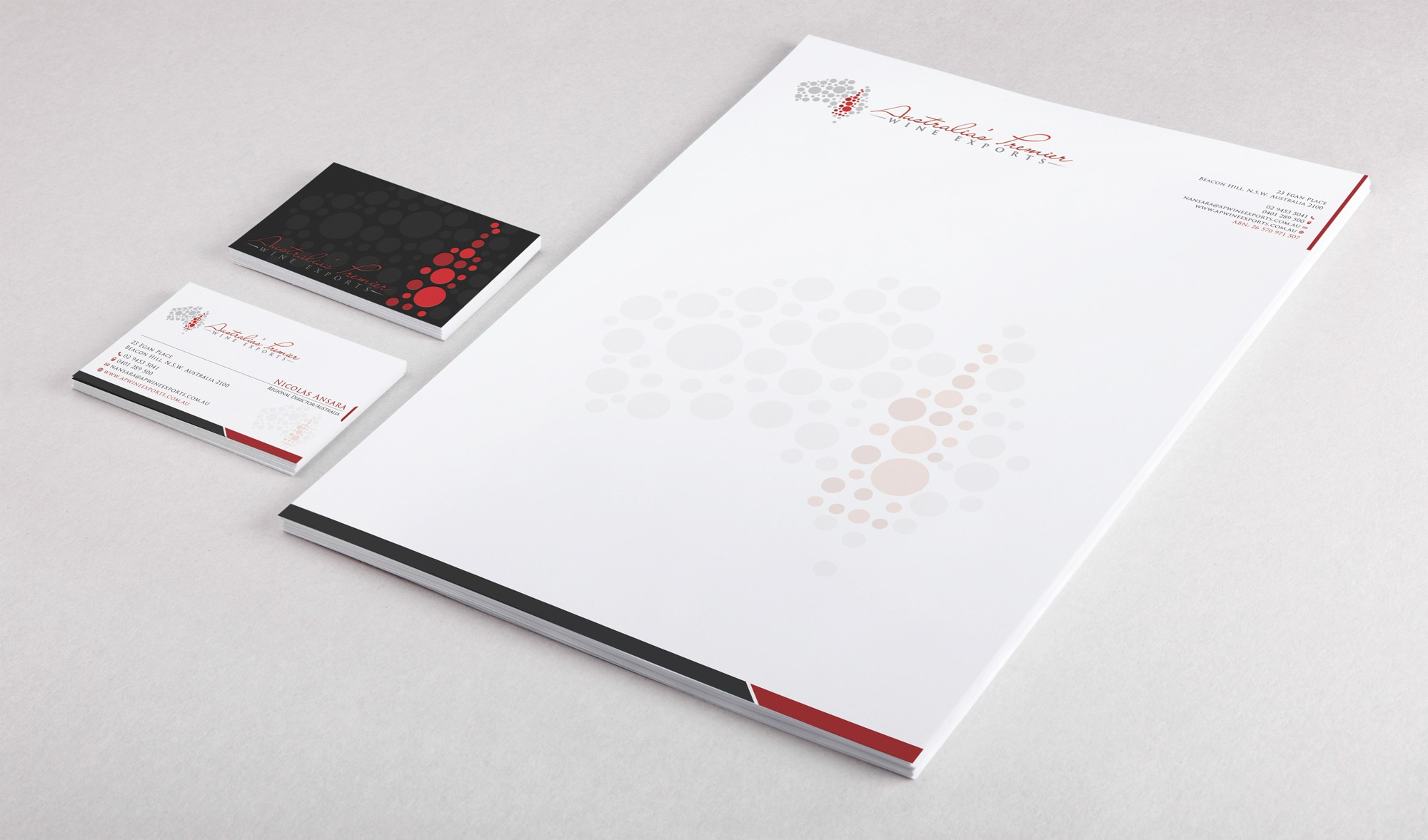 Help Australia's Premier Wine Exports with a new stationery