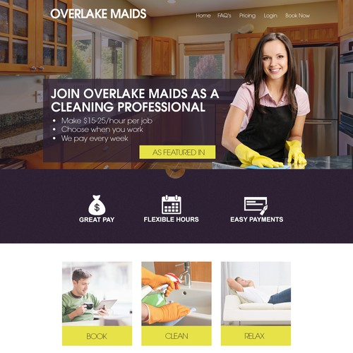 Create an inviting design for a 21st century maid company