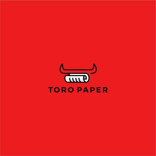 toro paper bull outline line art logo