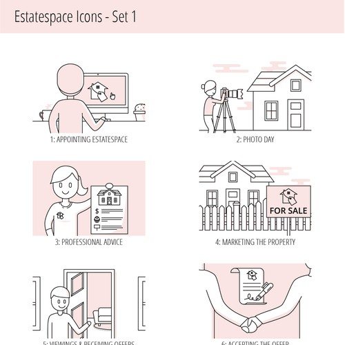 Icon illustration set for a real estate agency