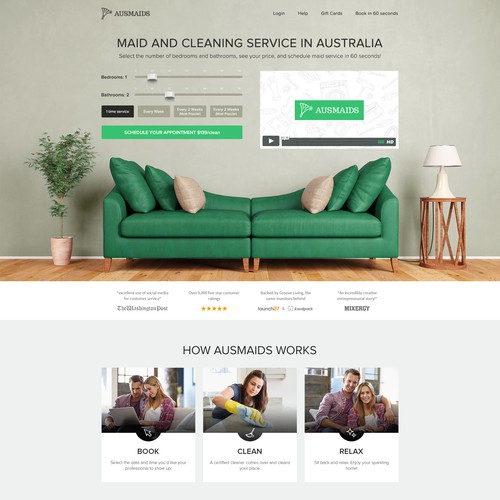 Maid and Cleaning Service Homepage Design