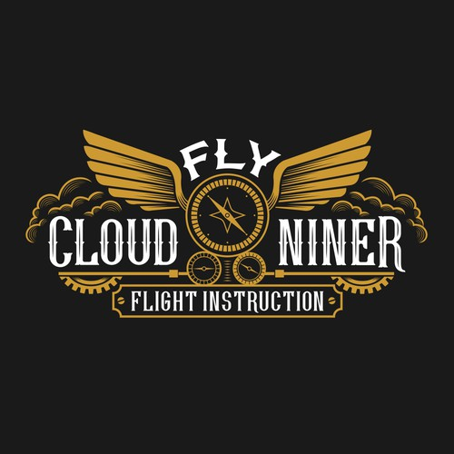 Steampunk logo for flight instruction company