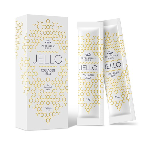 Minimalistic box packaging design for honey based collagen jelly
