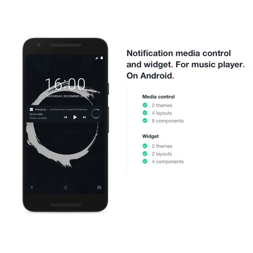 Notification Media Control and Widget. For Music Player. On Android 4-8.