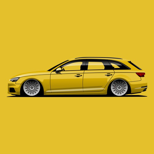 Audi RS4 Illustration for Awlest Wheels.