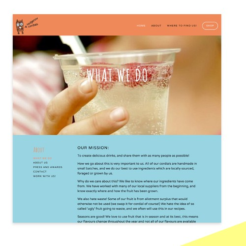 Squarespace website for UK drinks company
