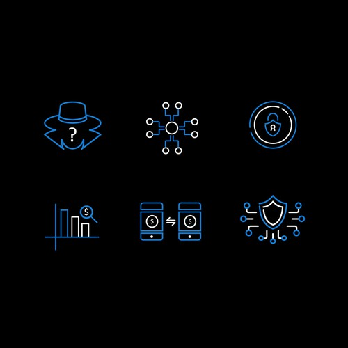 Anonymous Cryptocurrency Website Icons.