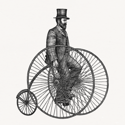 Illustration of a stately 19th century gentleman on a bicycle