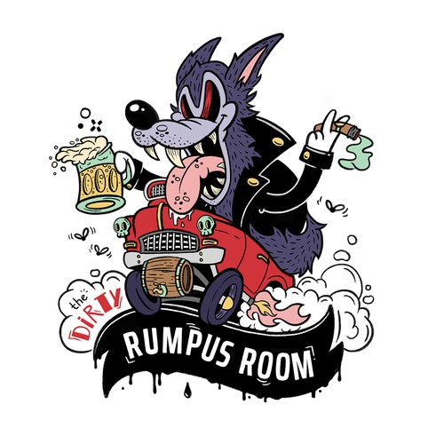 Cartoon-Inspired Drunk Mascot for YouTube Channel Set in a Bar