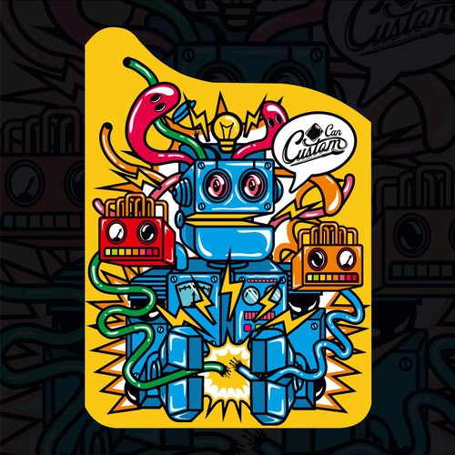 Bold Robot Charater Illustration for Jerry Cans