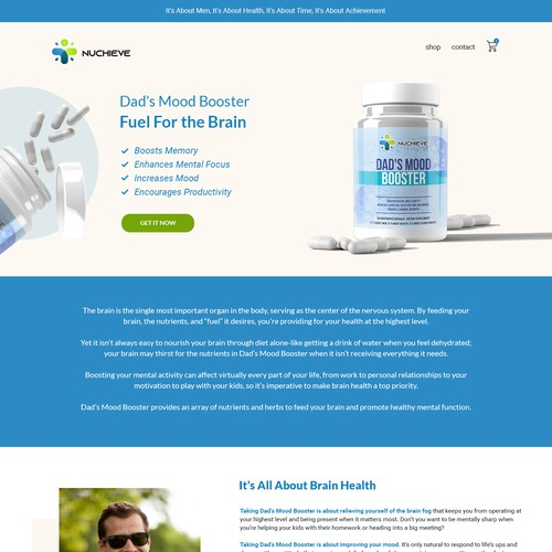 Landing Page for Supplements