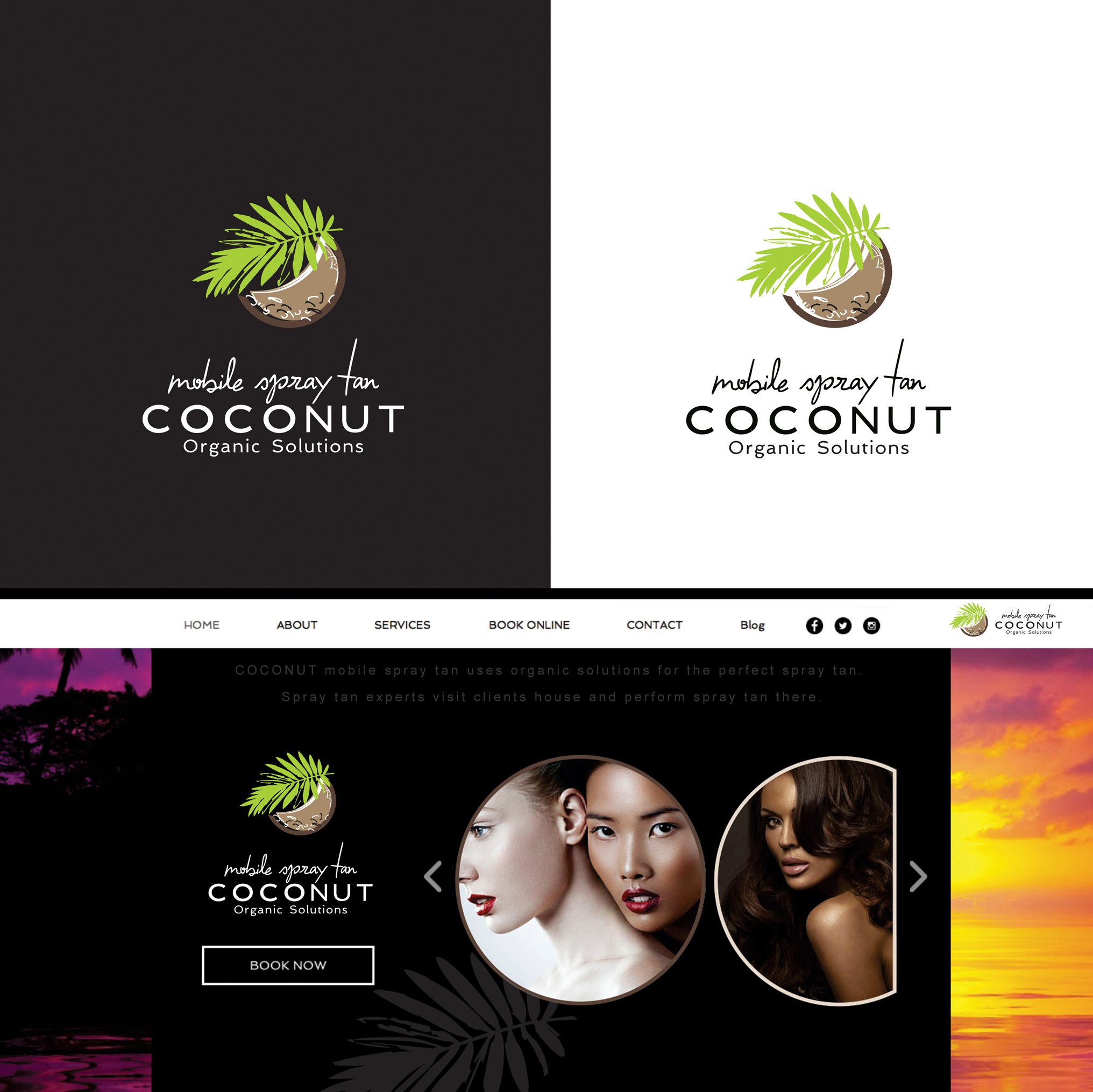 Create an attractive logo for a mobile spray tan business called COCONUT