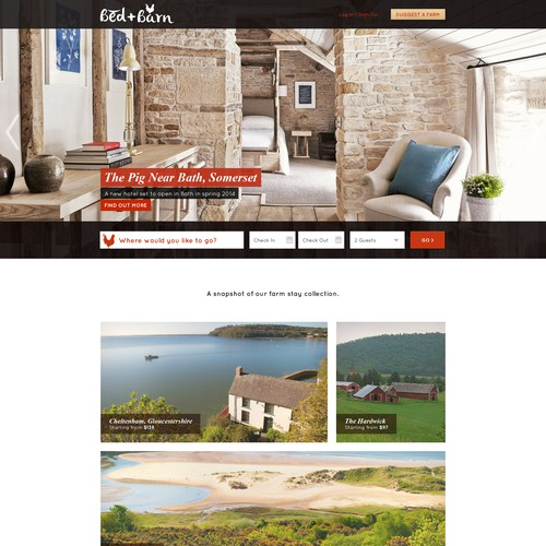 Design landing page to launch Bed+Barn