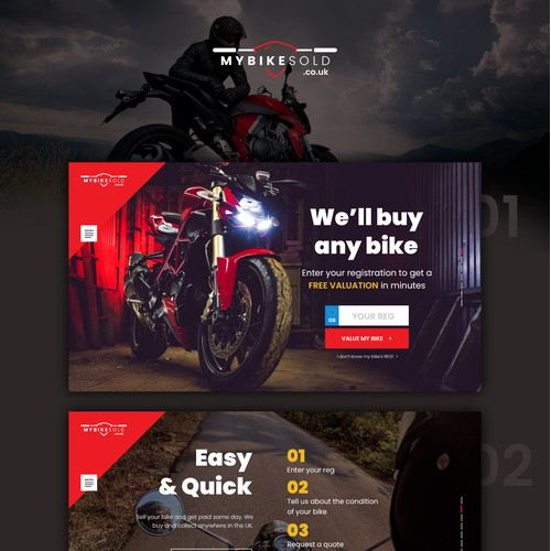 Fun homepage for a motorbike purchasing service