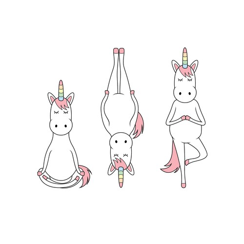 Unicorn doing yoga