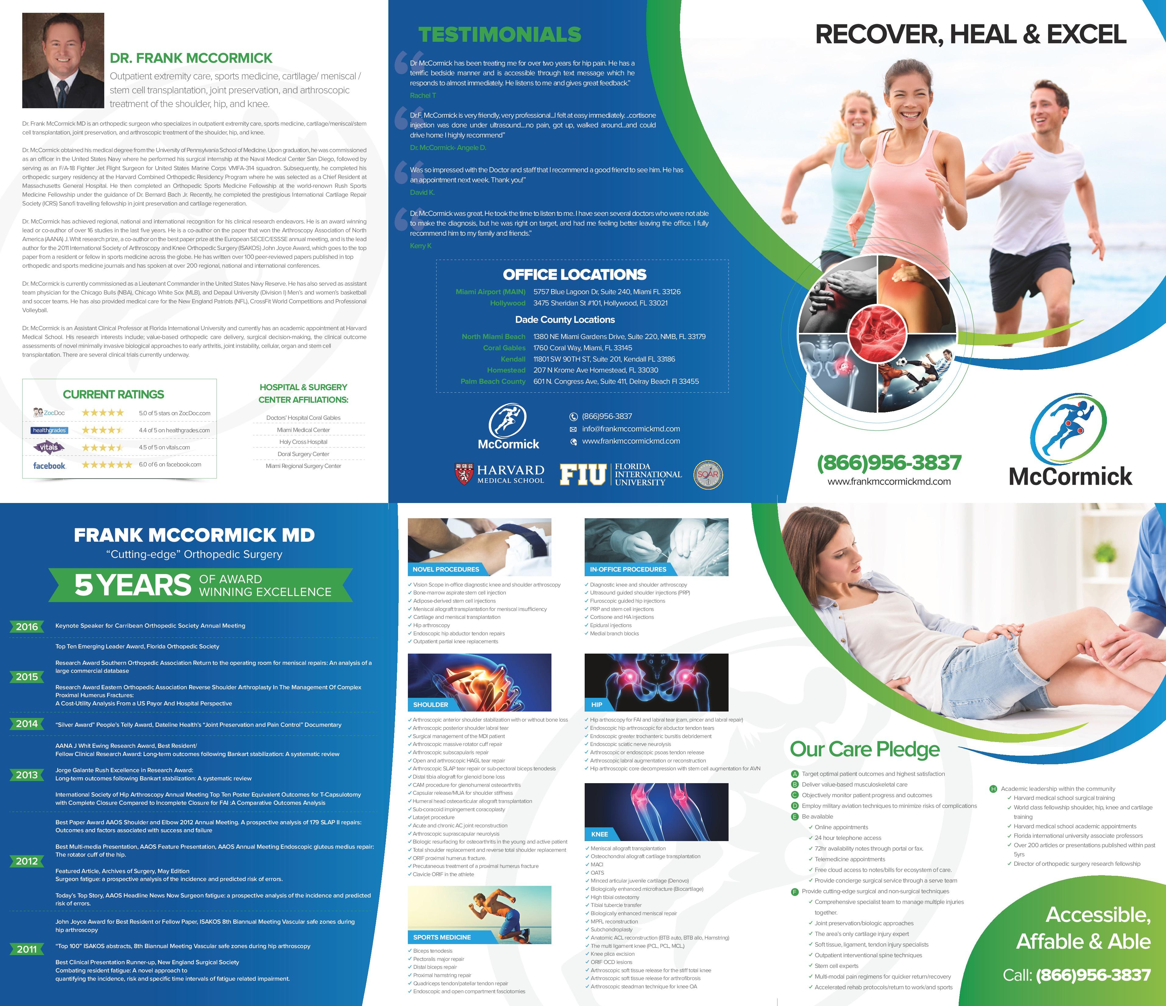 Marketing brochure for Dr. Frank McCormick